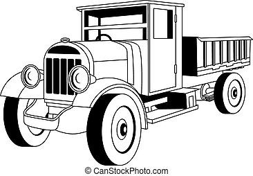 Vintage truck - Black and white vintage cargo truck on white...