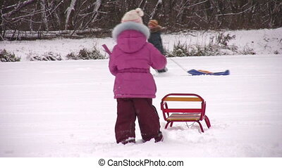children with sleds - Children with sleds