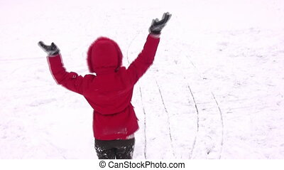 rotating woman on snow