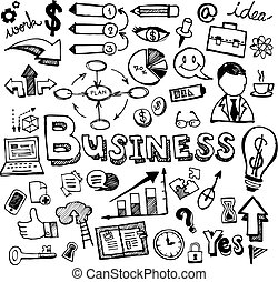 Business Doodles Hand Drawn Vector