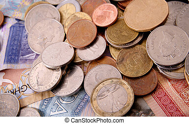 Foreign Coins and Bills - Foreign bills and coins from the...