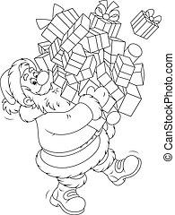 Santa with gifts - Santa Claus carrying a pile of Christmas...