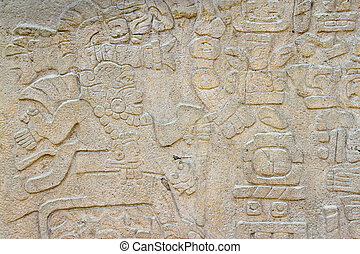 Carved stone of the ruins of Monte Alban, Oaxaca, Mexico