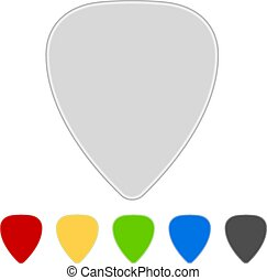 Blank color guitar picks isolated on white background.