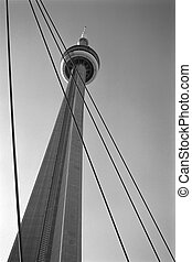 toronto cn tower - Toronto CN tower in black and white