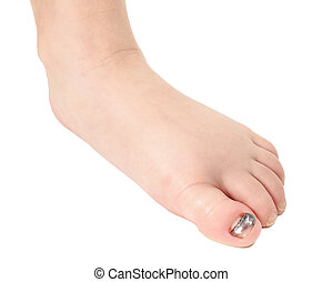 Closeup of a blue nail on big toe of young person isolated...