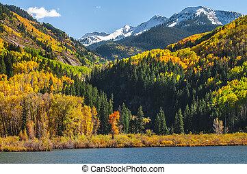 castor, lago, cerca, pueblo, de, Mármol, Colorado, ,