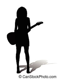 Sexy woman with an electric guitar