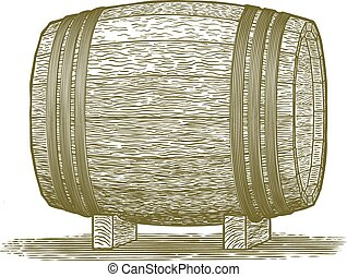 Woodcut Whiskey Barrel - Woodcut-style illustration of a...