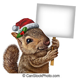 Holiday Squirrel Sign - Holiday squirrel wearing a santa...