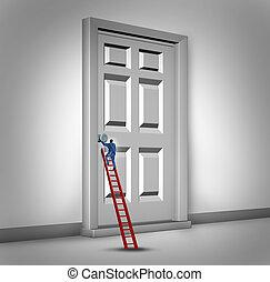 Opening The Door - Opening the door business concept as a...