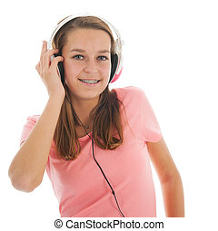 Teen girl with head phones - Teen girl listening music with...