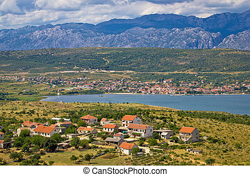 Posedarje bay and Velebit mountain view, Dalmatia, Croatia