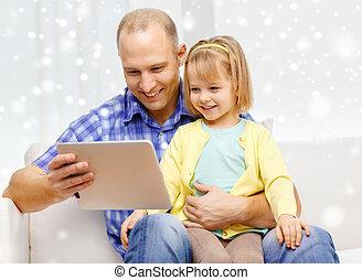 fille, tablette, père,  PC, informatique, heureux