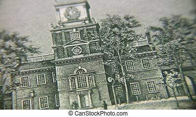 Drawing of building on banknote, rotating