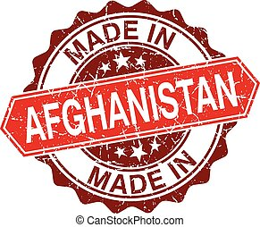 made in Afghanistan red stamp isolated on white background