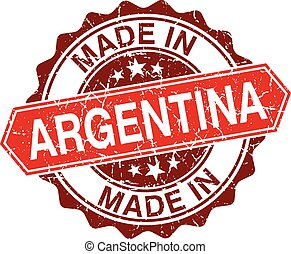 made in Argentina red stamp isolated on white background