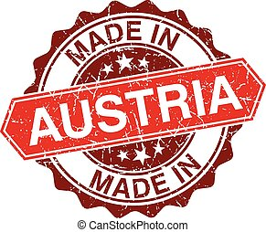 made in Austria red stamp isolated on white background