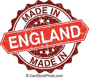 made in England red stamp isolated on white background
