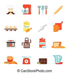 Bakery icon flat set with bread cakes flour pastry isolated...