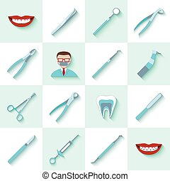 Dental instruments icons set with health care clinic...