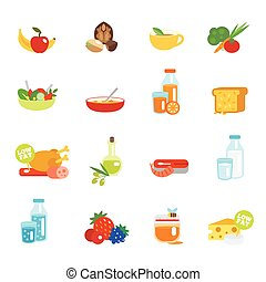 Healthy eating flat icons set with fruits nuts tea...