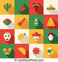Mexico flat icons set - Mexico travel symbols flat icon set...
