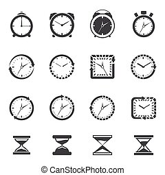 Clock icon black set