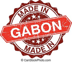made in Gabon red stamp isolated on white background