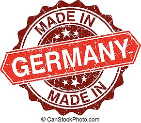 made in Germany red stamp isolated on white background