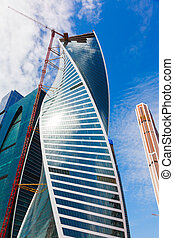 Blue Skyscrapers on sky background