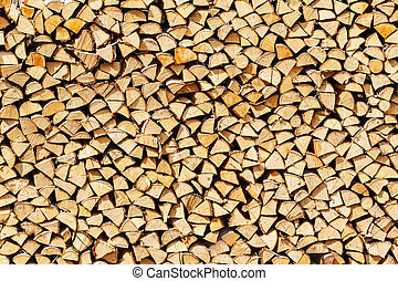 stack birch firewood in Russia, natural background