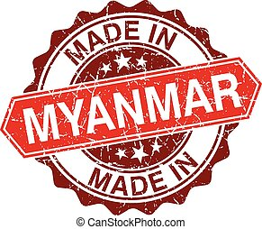 made in Myanmar red stamp isolated on white background