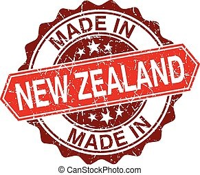made in New Zealand red stamp isolated on white background