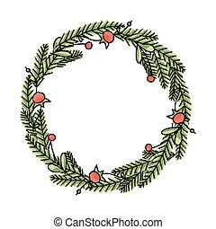 Vector hand drawn floral Christmas wreath - Hand drawn...