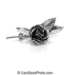 Retro metal rose brooch on a white background.