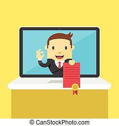 Vector online education certificate flat illustration