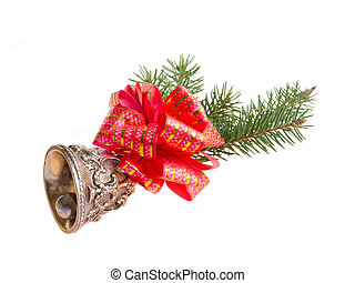 Christmas bell decorated with fir branches and red ribbon