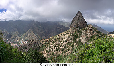 La Gomera - Roque El Cano above the town of Vallehermoso In...