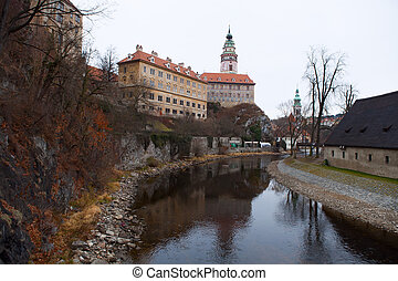 Castle tower in Cesky Krumlov, Czech Republic - Castle with...