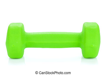 Green dumbell. Isolated on white background