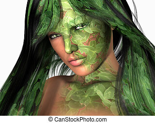 clover girl - high resolution 3d render of a woman with...