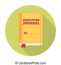 Flat Style Icon with Long Shadow A gratitude journal Concept...