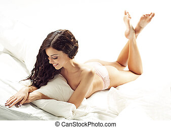 Dark-haired woman with fabulous body