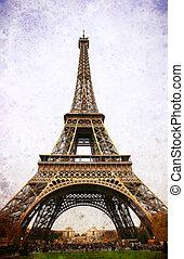 Eiffel Tower - retro postcard styled.