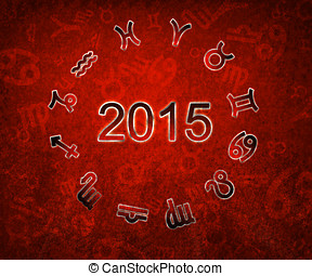 2015 Zodiac circle with zodiac signs on the red grunge...