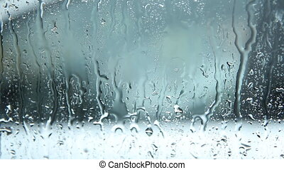 Rainy car window - Waiting in car for rain to stop Handheld...