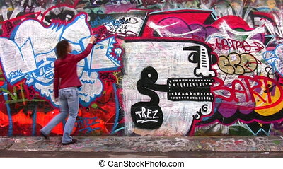 woman and graffitti