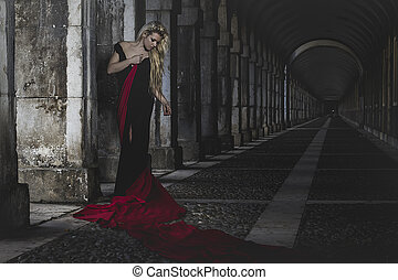 palace, romantic scene, beautiful blond, fallen angel with...
