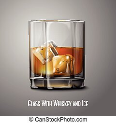 Realistic Vector glass with smokey Scotch Whiskey and ice...